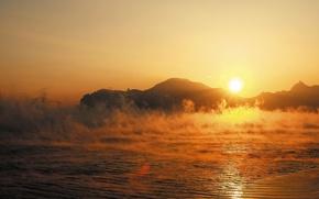 Картинка море, осень, солнце, восход, гора, пар, Крым