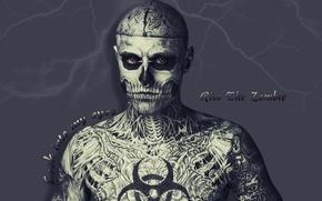 Картинка Rico, The zombie, молния, человек скелет, татуировки, глаза
