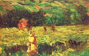 Обои The Promenade near Limetz, пейзаж, картина, Клод Моне