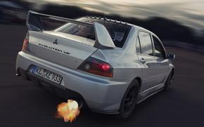 Обои Занос, Выхлоп, Mitsubishi, Lancer, Car, Огненный, Evolution 8