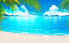 Обои песок, море, тропики, пальмы