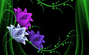 Картинка цветы, vector, flowers, background, neon, неоновые