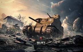 Картинка США, World of Tanks, Мир Танков, M3 Lee, Wargaming Net, Средний Танк, WoTB, Blitz, WoT: …