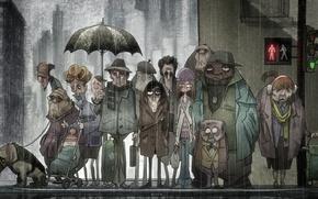 Картинка дождь, толпа, светофор, прохожие, магазинчик самоубийств