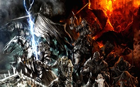 Картинка fire, mountains, army, orcs, Lord of the rings