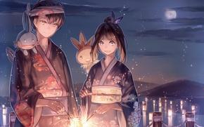 Обои небо, девушка, облака, ночь, улыбка, звери, луна, аниме, арт, парень, кимоно, бенгальские огни, Pokemon, Ruby, ...
