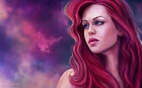 Картинка взгляд, лицо, арт, Ariel, русалочка, красные волосы, Ариель