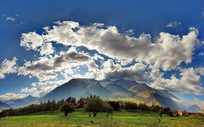 Обои georgia, kazbegi, clouds, sky, field, grass, mountains, sunrise