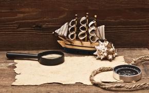 Картинка модель, канат, лупа, компас, рукопись