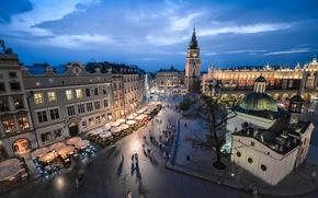 Картинка небо, ночь, улица, площадь, Польша, панорама, Evening, Poland, Краков, Houses, Krakow