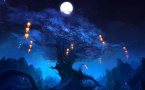 Картинка ночь, огни, дерево, скалы, луна, арт, фонарики, zyxlx