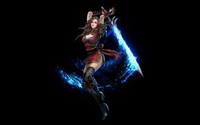 Картинка магия, Девушка, меч, взмах