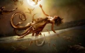 Картинка луна, вода, девушка, полёт, арт, Diversity, фантазия