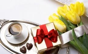 Картинка подарок, романтика, кофе, конфеты, тюльпаны, love, romantic, Valentine's Day