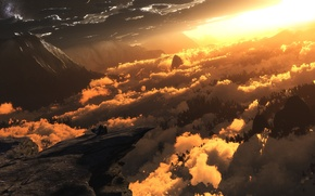 Картинка облака, свет, горы, digital, Heliocentric