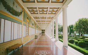 Картинка сад, колонны, холл