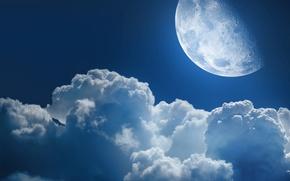 Картинка небо, космос, звезды, облака, ночь, вселенная, луна, небеса, звезда, планеты, планета, облако, просторы
