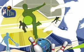 Картинка абстракция, обои, шар, вектор, силуэт, кегли, боулинг, Bowling