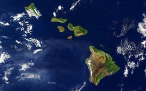 Обои вид со спутника, облака, Гавайи