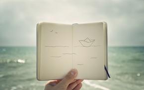Картинка море, рисунок, корабль