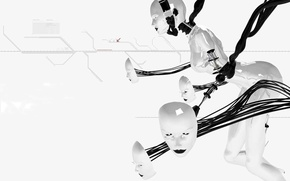 Обои белый, лица, Робот, провода