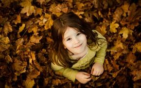 Картинка девочка, настроения, дети, улыбка, малыши, улыбки, настроение, осень, девочки