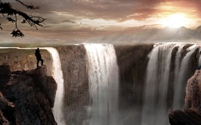 Картинка пейзаж, закат, горы, человек, арт, пропасть, водопады
