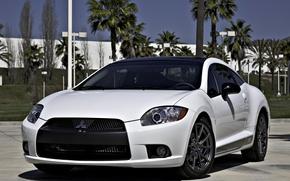 Картинка белый, пальмы, Mitsubishi, white, Eclipse, передняя часть, эклипс, мицубиси