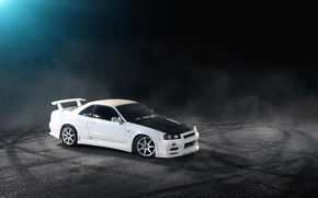 Картинка скайлайн, Skyline, Nissan, R34, белый, ниссан, white