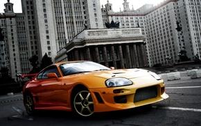 Картинка предок, здание, фон, tuning, МГУ, Toyota, оранжевый, тюнинг, Supra, Тойота, Супра, спорткар