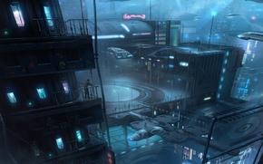 Картинка ночь, город, будущее, транспорт, корабли, арт, unidcolor