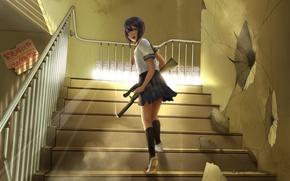 Картинка оружие, школьница, Gun, бежит, лестнице