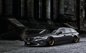 Картинка Mazda, Tuning, Stance, Silver, Wheels, Works, Speed 6