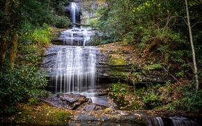 Обои осень, лес, листья, деревья, ручей, камни, водопад, мох, США, каскад, Georgia