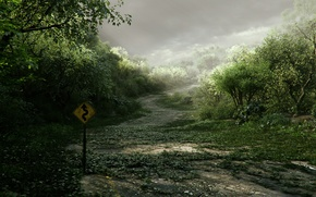 Обои дорога, заросли, знак, арт, указатель