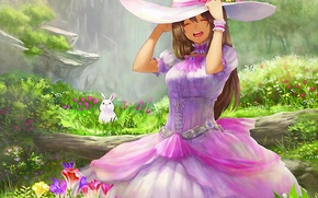 Обои шляпа, цветы, арт, бревно, кролик, белый, девушка, эмоции, заяц, радость, guchico, платье, pixiv