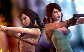 Картинка девушки, огонь, пистолеты, лук, арт, Tomb Raider, lara croft, Aicka