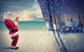 Картинка зима, Новый Год, Рождество, Christmas, winter, snow, New Year, Santa