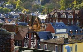 Картинка город, Франция, Дома, Крыши, France, town, Etretat, Этрета
