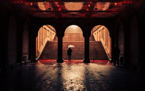Обои United States, umbrella, Bethesda Terrace Arcade, raining, Central Park, New York, man