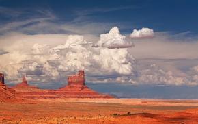 Картинка небо, облака, скалы, гора, США, долина монументов