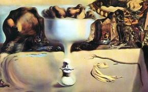 Картинка явление лица и вазы с фруктами на берегу моря, сюрреализм, картина, сальвадор дали, salvador dali, ...