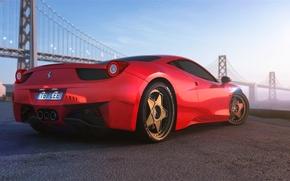 Картинка Ferrari, Red, 458, Bridge, Vintage, Italia, Supercar, Wheels, HRE