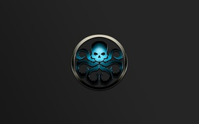 Картинка skull, logo, blue, symbol, metall, Marvel comic, tentacles, Hail Hydra