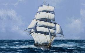 Картинка Паруса, Рисунок, Парусник, Корабль, Мачты, Чайки, Море, Белые паруса