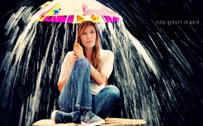 Картинка девушка, дождь, ситуация, зонт