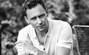 Картинка фото, портрет, футболка, актер, черно-белое, боке, Tom Hiddleston, Том Хиддлстон, Esquire, Eric Ray Davidson