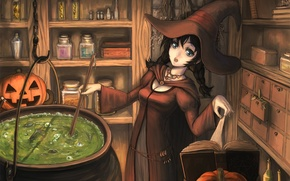 Картинка девушка, шляпа, тыква, книга, ведьма, halloween, котел, варево