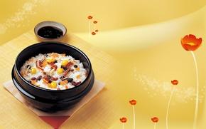 Обои цветы, стиль, китай, япония, еда, яйца, лук, чашка, оливки, морковь, желтый фон, соевый соус, второе