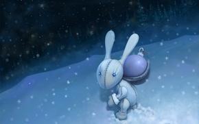 Картинка снег, ночь, новый год, зайка